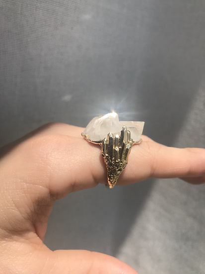 Clear Quartz Cathedral Ring- 14k gold