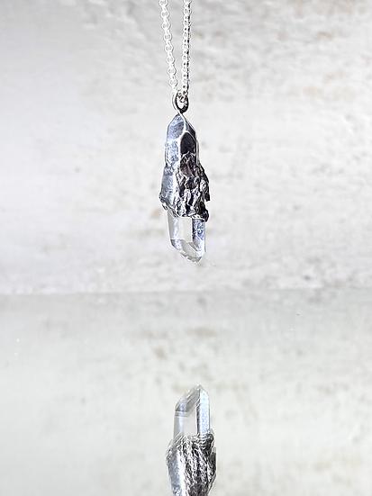 Quartz Mirror Necklace No 4 - Silver
