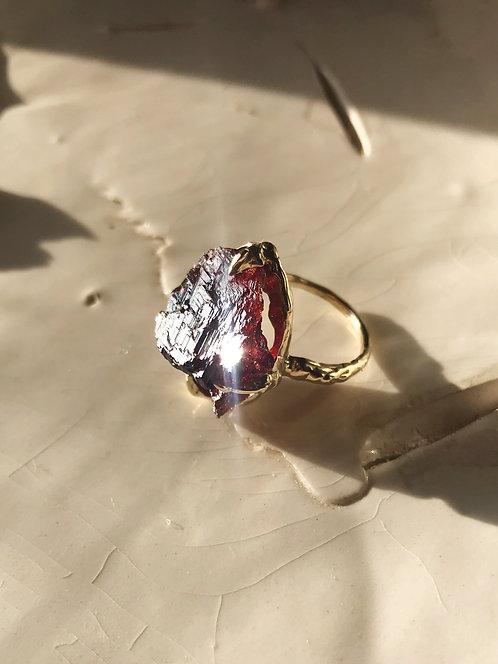 Etched Spessartine Garnet Ring
