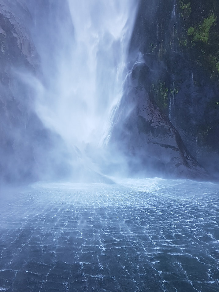 Crashing waterfall, Milford Sound