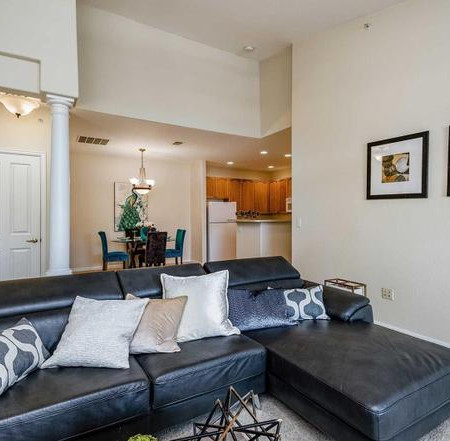 sofa in staged home