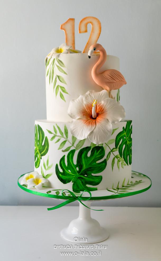 עוגת בת מצווה טרופית עם פלמינגו