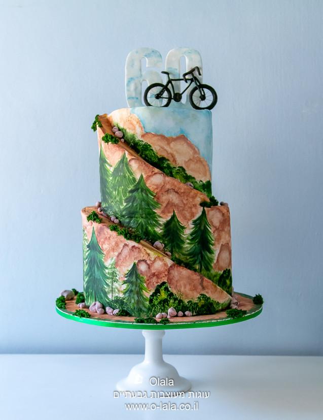 עוגה לגבר עם אופניים