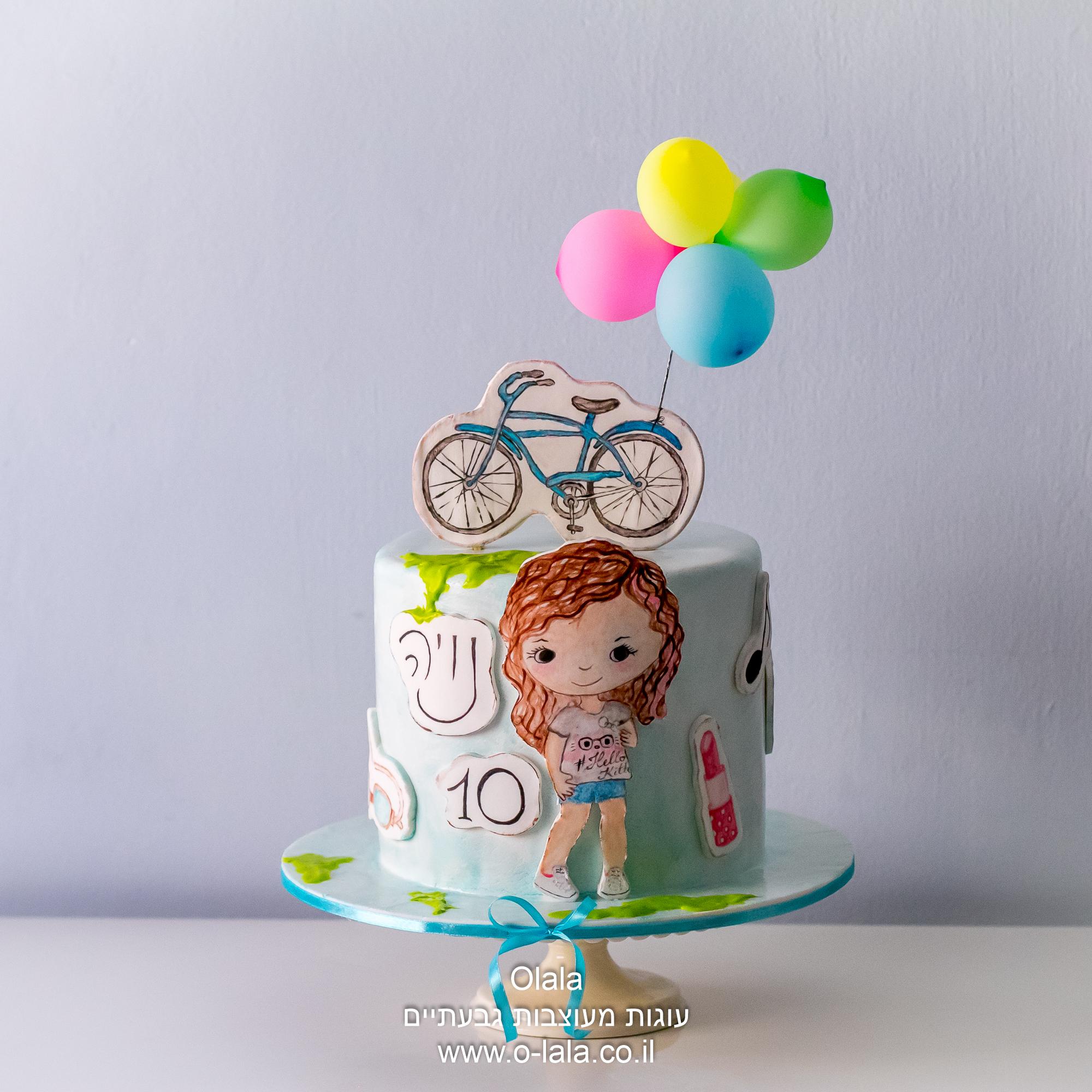 עוגת ילדה עם אופניים