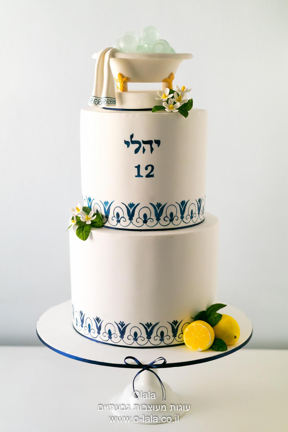 עוגת בת מצווה בסגנון יווני