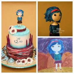 עוגת בת מצווה עם הנשפת ילדה מצויירת