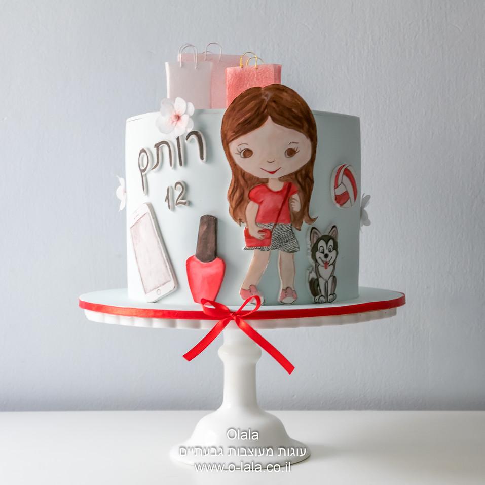 עוגת בת מצווה מצויירת