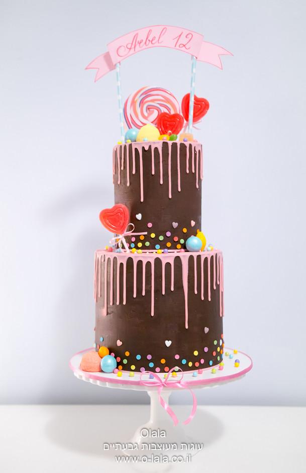 עוגת בת מצווה שוקולד עם סוכריות