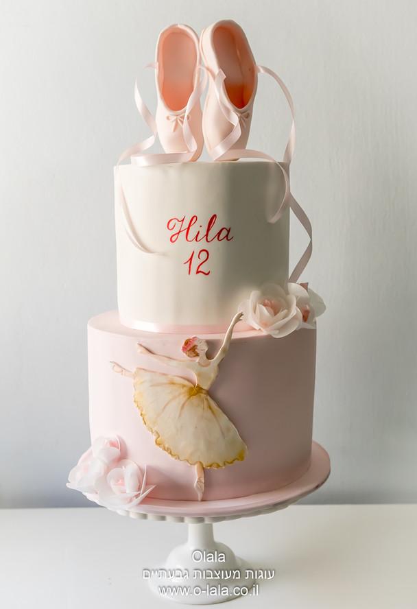עוגת בת מצווה עם נעלי בלט