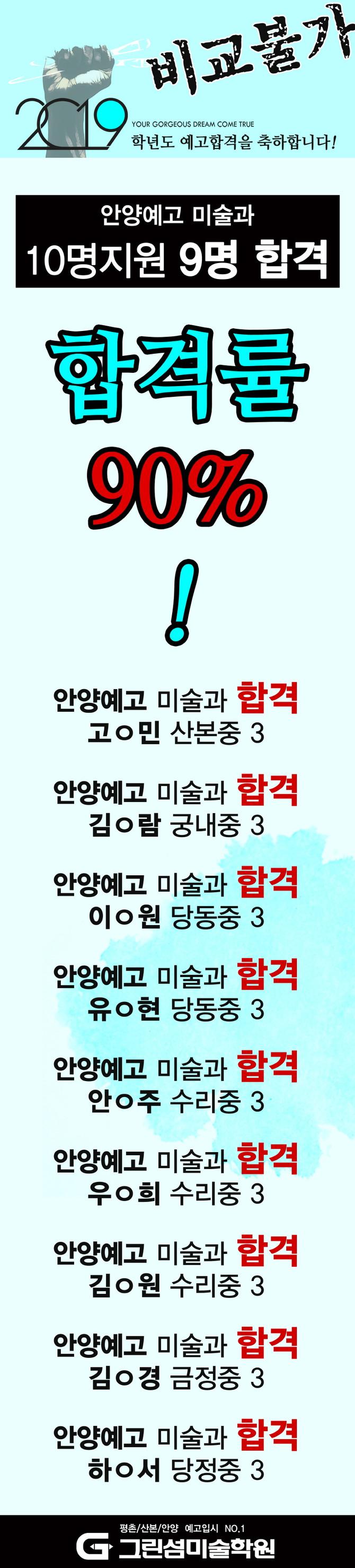 2019 안양예고 10명지원 9명합격!!