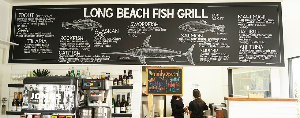 Long Beach Fish Grill Menu Board