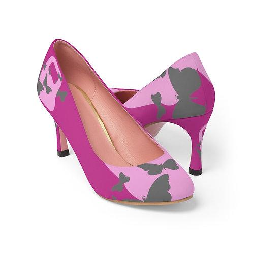 Kettlebell pink butterfly Women's High Heels - fuchsia