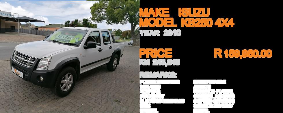 2010 ISUZU KB250 4X4 - KM243,549