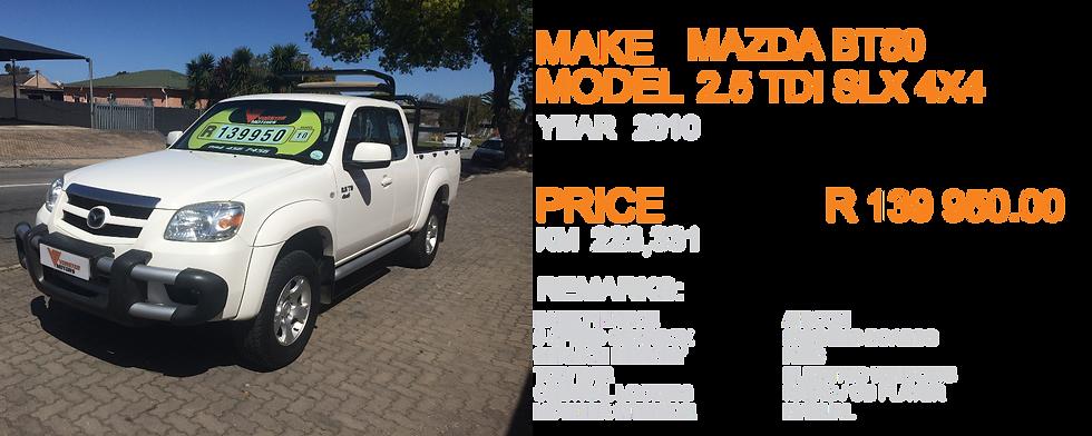 2010 MAZDA BT50 2.5 TDI SLX 4X4 - KM 223,331
