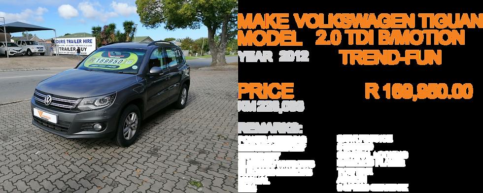 2012 VW TIGUAN 2.0 TDI B/MOTION TREND-FUN  - KM228,088