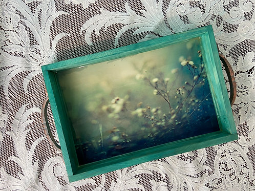 Patina Wood Photo Tray