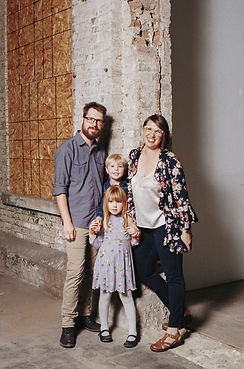 parents and young children posing at the westclox studio