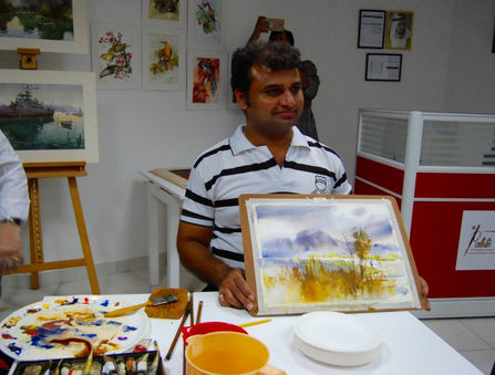 Master Prafull Sawant's watercolour painting demonstration