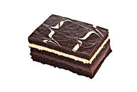 isolated chocolate and vanilla layer cak