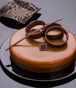 caramel chocolate cake with chocolate de