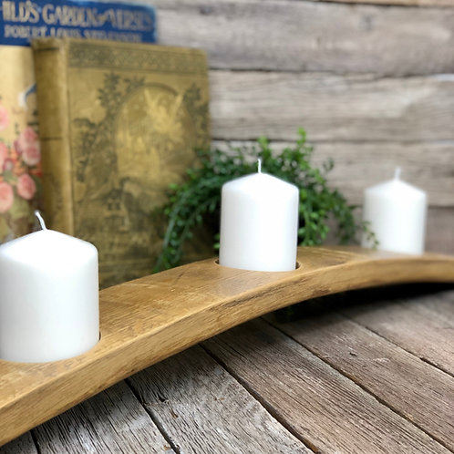 Large Candle Holder - Wine/Whiskey Barrel