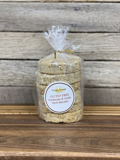 Parmesan & Garlic Biscuits (Pack of 6) - GLUTEN FREE - Purely Sweet Bakery
