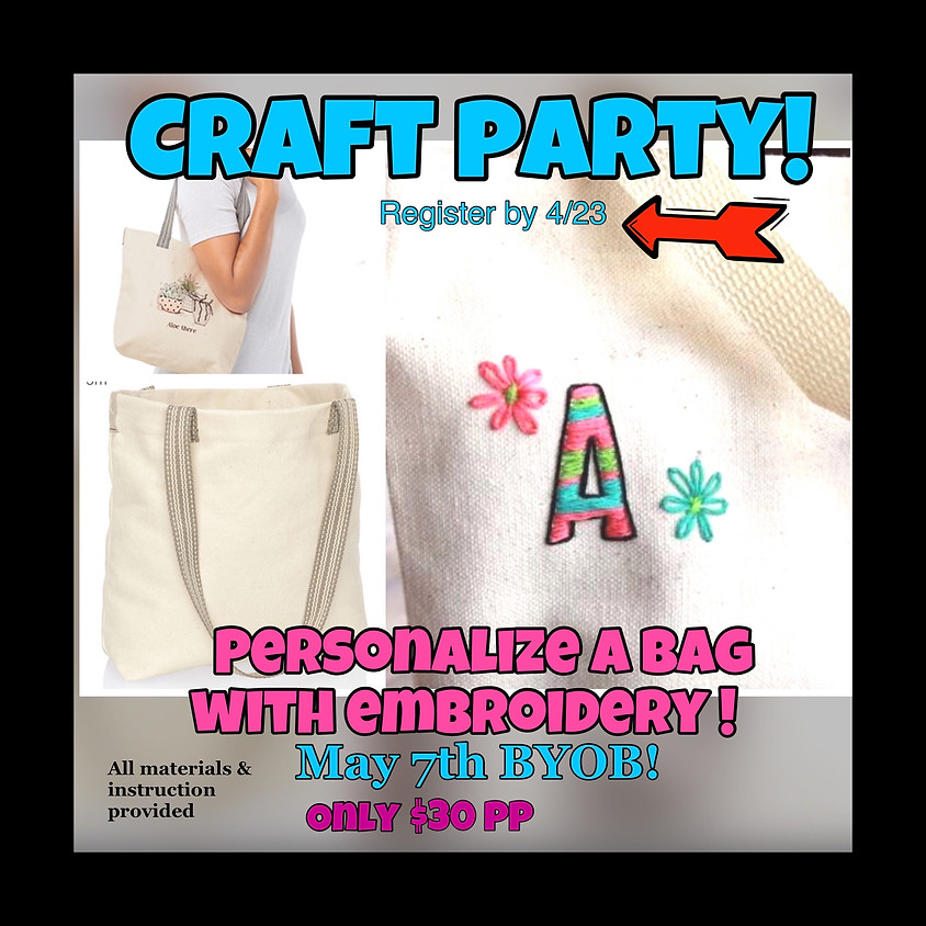 Craft Party, Embroider a bag!