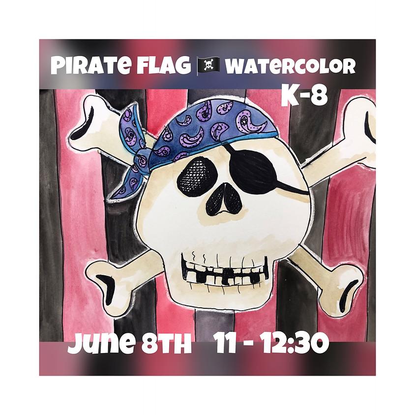 Pirate Flag Watercolor Workshop Grades K-8