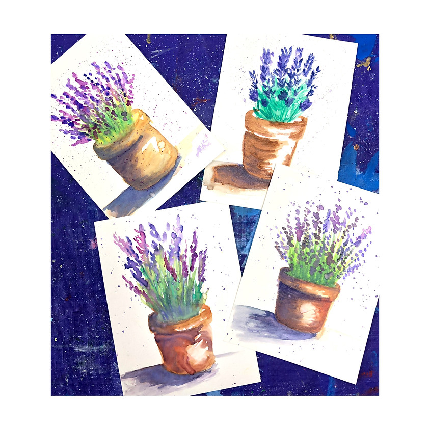 Adult Potted Lavender Watercolor Painting