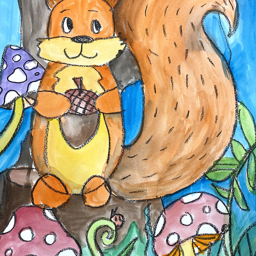 Squirrel drawing and painting workshop K-5
