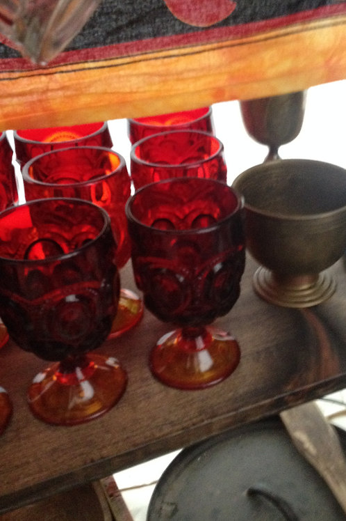 Ruby red glass goblets