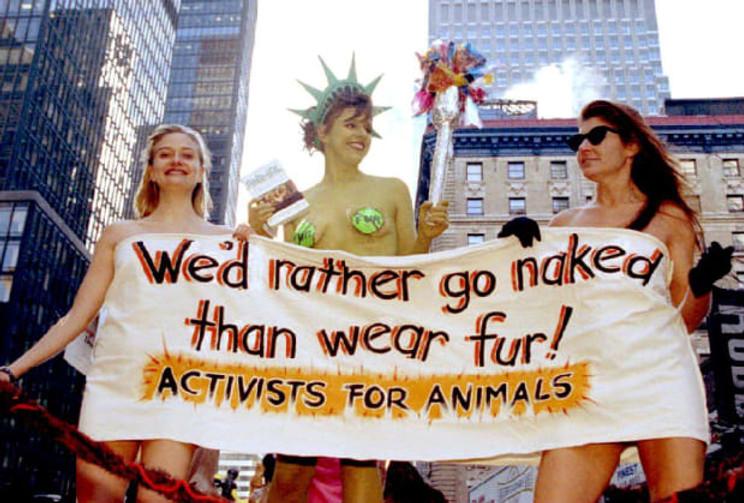 PETA protestors holding anti fur banner