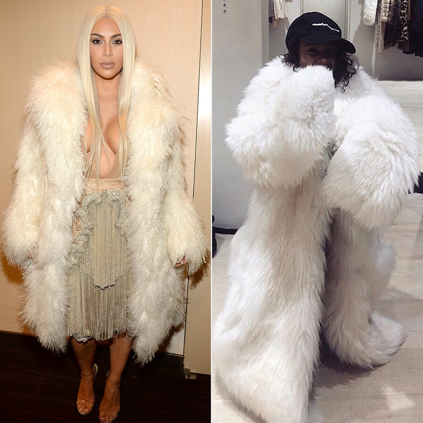 Kim Kardashian rocking a faux fur jacket
