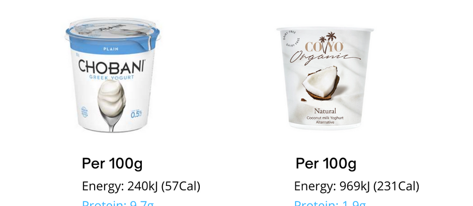 Low-fat Greek yoghurt versus Coconut yoghurt 🧐