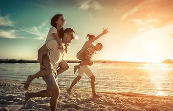 Friends fun on the beach