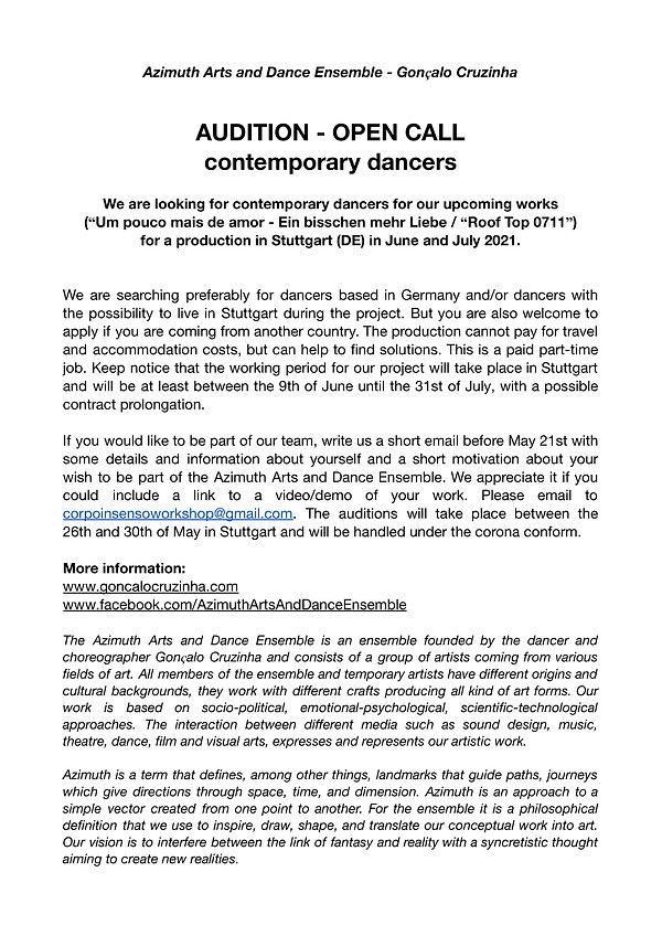 audition dancers - Azimuth Arts and Danc
