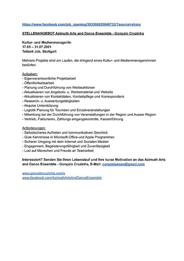 Stellenangebot - Kultur- und Medienmanag