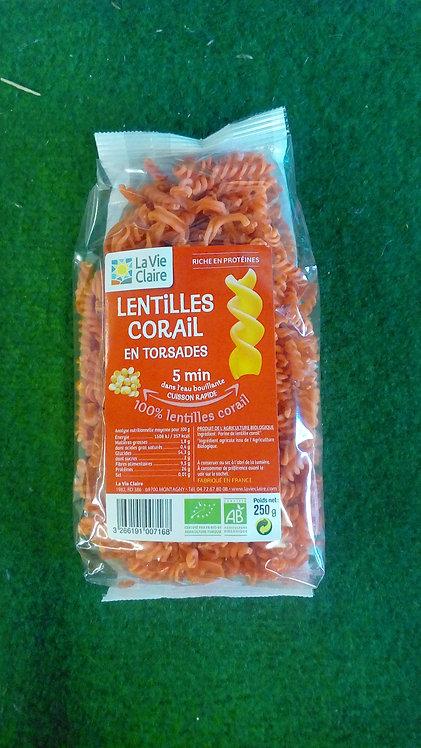 Lentilles corail en torsades
