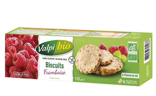 Biscuits framboises et arômes naturels 120g valpi bio