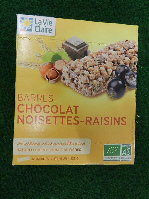 Barres chocolat raisins