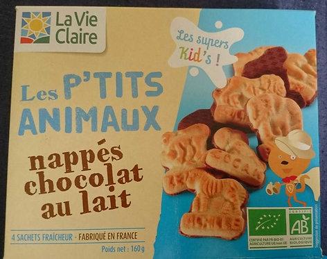 Les P'tits Animaux Nappés Chocolat au Lait - La Vie Claire - 160 g