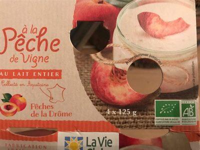 Yaourt vache lait entier à la Pêche de Vigne  4 pots