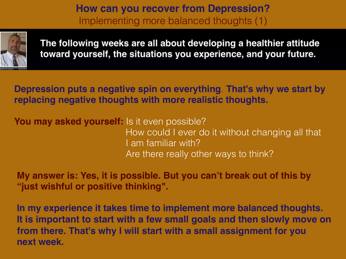 Recovery from Depression (6) -  More balanced thoughts