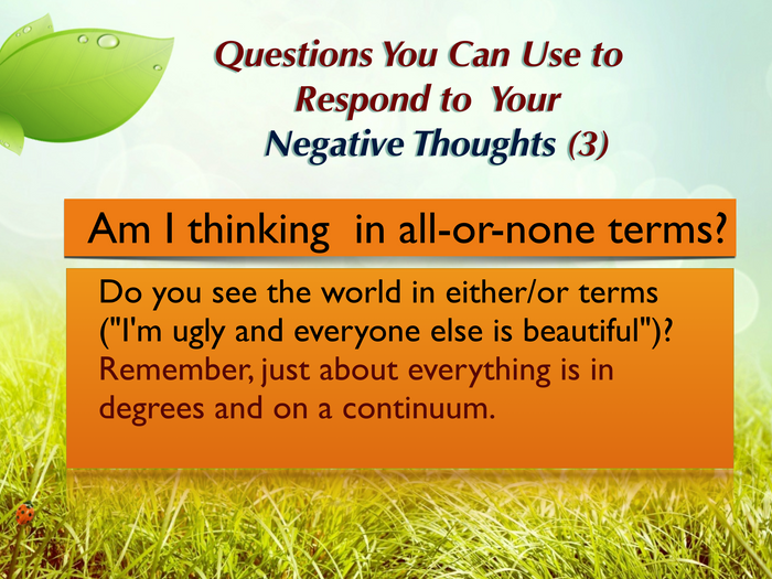 Questions you can ask yourself (3)