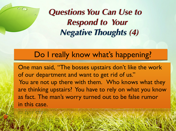 Questions you can ask yourself (4)