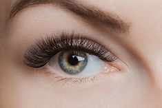 Eyelash extension procedure. Beautiful f
