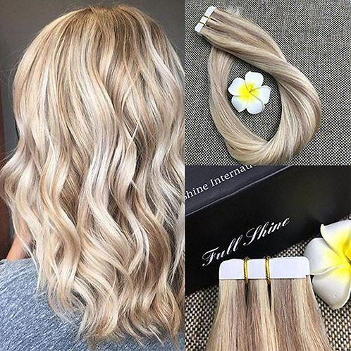 "Mix Blonde Tape-in Human Hair Extensions 18"" #18#61 50g"