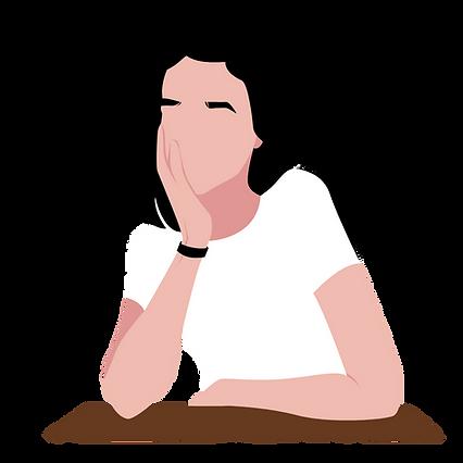 Woman leaning on desk