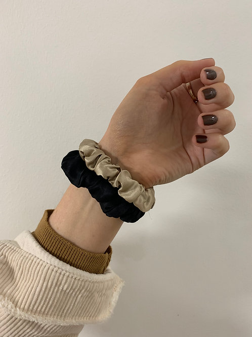 100% Mulberry Silk Skinny Scrunchie - Black