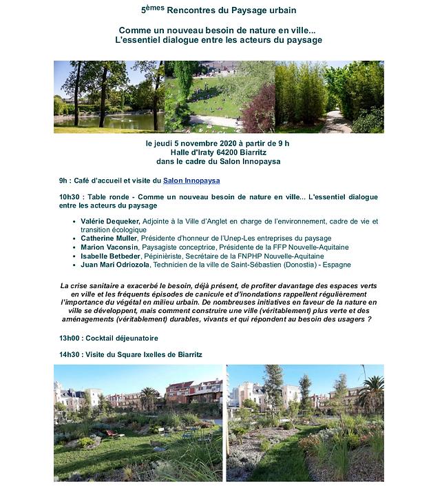 5èmes rencontres du paysage urbain - Innopaysa - Biarritz